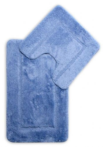 DESIGNER LUXURY SOFT MICROFIBRE BATH MAT & PEDESTAL BLUE COLOUR